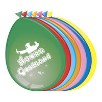 Ballonnen gekleurd met opdruk: 'Hoera Geslaagd' 8 stuks 30 cm.