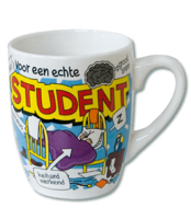 Mok met cartoon print 'Student' OP=OP
