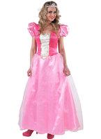 Jurk lang, roze prinses met pofmouwen en wit brokaat tussenstuk.