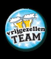 Button Blauw 'Vrijgezellen Team'