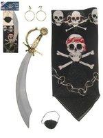 Piratenset, 4-delig hoofddoek, kromzwaard, ooglapje en oorbellen