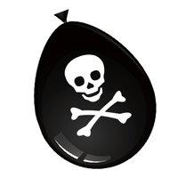 Ballonnen zwart met opdruk doodshoofd 8 stuks