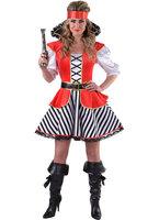 Dames piraat Kapitein Haak, blouse met rok en opstaande kraag.