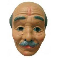 Opa / Abraham plastic masker kaal met snor