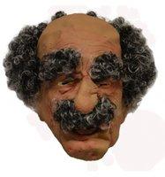 Opa / Abraham rubber masker met peuk en rand haar