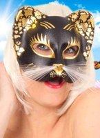 Kattenmasker zwart met goud en witte snorharen