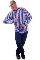 T shirt blauw-wit gestreept lange mouw man