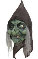 Ghoulish masker Fold Hag groene heks met kap en haar