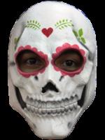 Gezichtsmasker rubber Catrina schedel wit