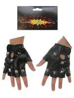 Punk Handschoenen skai zwart  one size