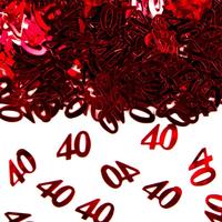 Tafeldecoratie/sierconfetti cijfertje 40 robijn