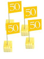 Cocktailprikkers vlag goud 50 stuks