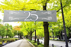 Straatbanner '25'  180 cm x 40 cm