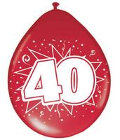 Ballonnen 40 jaar robijn metallic 8 stuks
