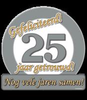 Verkeersschild zilver 25 jaar getrouwd