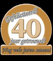 Huldeschild 'Jubileum 40 jaar' met tekst