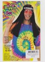 Hippieset hoofdband, ketting en bril