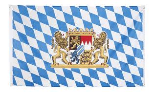 Vlag blauw-wit met wapen, 90 x 150 cm