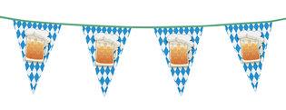 Vlaggenlijn plastic puntvlaggen blauw-wit met bierpul, 6 meter
