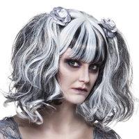 Pruik Zombie Roos, zwart-grijs