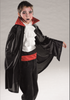 Dracula kindercape zwart met rode kraag lengte ca. 120 cm