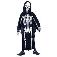 Skelet kind 2-delig: toga met hoofdkap en masker (stof)