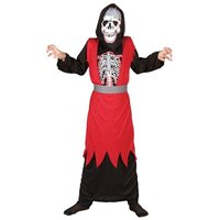 Skelet rood-zwart 2-delig: toga met hoofdkap