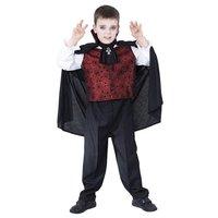Dracula kostuum, rood shirt met witte mouwen, zwarte cape met kraag, leeftijd 7-9 jaar