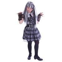 Jurk evil girl zwart grijs 7-9 jaar, maat 128-140 OP=OP