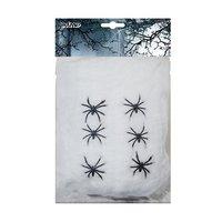 Spinnerag wit 100gr. + 6 spinnen