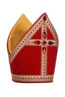Sint-Nicolaas kokermijter licht rood luxe, katoen fluweel met stenen
