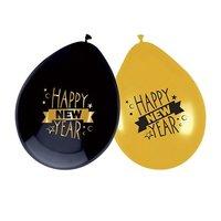 Ballonnen zwart - goud met opdruk 'happy new year' 6 stuks