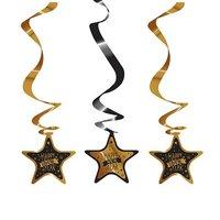 Hangspiralen 3 stuks zwart - goud opdruk 'happy new year'