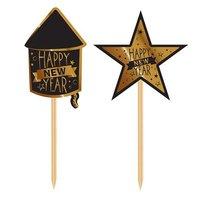 Party-, cocktailprikkers zwart-goud 'happy new year' 20 stuks