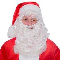 kerstman pruik en baard met vaste snor, kanekalon kunsthaar.