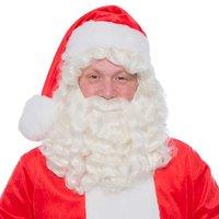 Kerstman pruik & baard kanekalon kunsthaar wit one size
