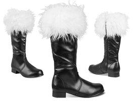 Kerstman laarzen zwart rubber met witte pluche rand.