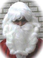 Kerstman pruik & baard kunsthaar wit, one size