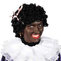 Zwarte piet pruik dames met roze strikjes