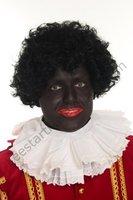 Zwarte Piet pruik zwart TV Piet uitwasbaar en verstelbaar