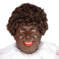 Zwarte piet pruik bruin