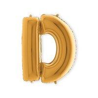 Folieballon letter 'D' goud 100 cm