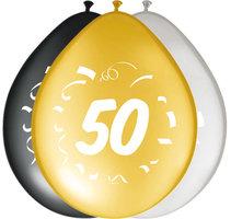 Ballonnen zwart goud zilver leeftijd '50' 8 stuks