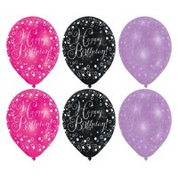 Ballonnen Sparkling roze/paars/zwart 'Happy Birthday' - 6 stuks