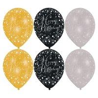 Ballonnen sparkling goud/ zilver/ zwart 'Happy Birthday' - 6 stuks