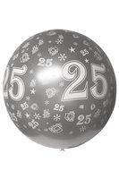 Megaballon bedrukt 25 metallic zilver 90 cm
