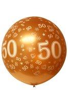 Megaballon bedrukt 50 metallic goud 90 cm