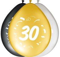 Ballonnen zwart goud zilver leeftijd '30' 8 stuks