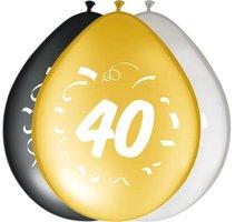 Ballonnen zwart goud zilver leeftijd '40' 8 stuks