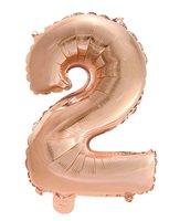 Folie ballon '2' rosé goud 40 cm voor luchtvulling